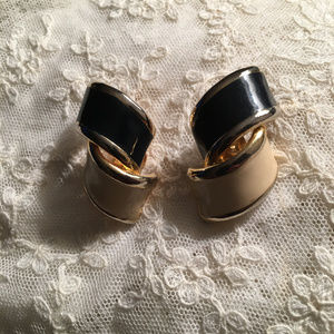 Big Vintage Enamel Black and Cream Twist Earrings